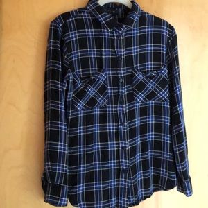 Sanctuary black blue plaid button down shirt Large